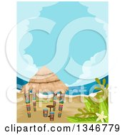 Clipart Of A Tiki Hut On A Beach Royalty Free Vector Illustration