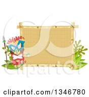 Clipart Of A Tribal Tiki Dancer Wearing A Mask By A Sign Royalty Free Vector Illustration