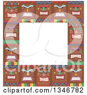 Clipart Of A Border Of Tiki Mask Faces Royalty Free Vector Illustration