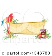 Macaw Parrot Wearing A Lei Perched On A Bamboo Sign With A Tiki Statue And Hibiscus Flowers