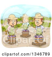Cartoon Woman And Men Stomping Grapes At A Winery