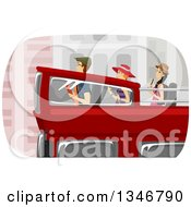 Clipart Of A Group Of Tourstis On A Double Decker Bus Royalty Free Vector Illustration