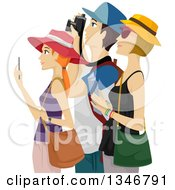 Clipart Of A Group Of Tourists Sight Seeing And Taking Pictures Royalty Free Vector Illustration