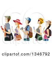 Clipart Of A Group Of Young Tourists Waiting In A Line Royalty Free Vector Illustration