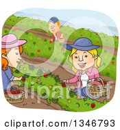 Clipart Of A Cartoon Caucasian Man And Women Picking Strawberries Royalty Free Vector Illustration