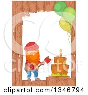 Clipart Of A Wood Border With A Birthday Cake Party Balloons And Lumberjack Royalty Free Vector Illustration by BNP Design Studio