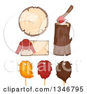 Clipart Of A Lumberjack Outfit And Sign Wood Axe And Beards Royalty Free Vector Illustration by BNP Design Studio