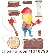 Clipart Of A Cartoon Happy Blond Caucasian Male Lumberjack Holding An Axe With Logs And Accessories Royalty Free Vector Illustration by BNP Design Studio