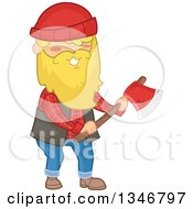 Clipart Of A Cartoon Happy Blond Caucasian Male Lumberjack Holding An Axe Royalty Free Vector Illustration