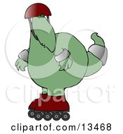 Big Green Dino In A Helmet And Pads Rollerblading Clipart Illustration