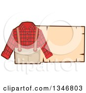 Plaid Lumberjack Outfit And Blank Sign