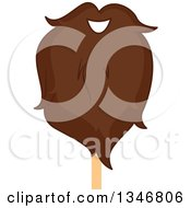 Clipart Of A Brunette Lumberjack Beard On A Stick Royalty Free Vector Illustration by BNP Design Studio