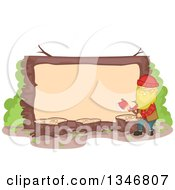Cartoon Happy Blond Caucasian Male Lumberjack Holding An Axe By A Blank Sign With Tree Stumps