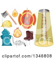 Clipart Of Firefighting Items Royalty Free Vector Illustration