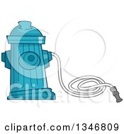 Clipart Of A Blue Fire Hydrant And Hose Royalty Free Vector Illustration