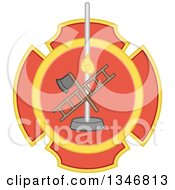 Clipart Of A Badge With A Fire House Pole Ladder And Axe Royalty Free Vector Illustration