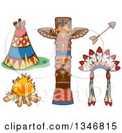 Clipart Of Native American Indian Items Royalty Free Vector Illustration