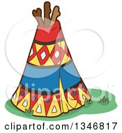 Clipart Of A Native American Indian Teepee Royalty Free Vector Illustration