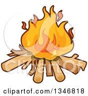 Clipart Of A Cartoon Camp Fire Royalty Free Vector Illustration