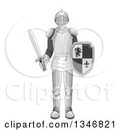 Clipart Of A Cartoon Full Armor Knight Holding A Shield And Sword Royalty Free Vector Illustration