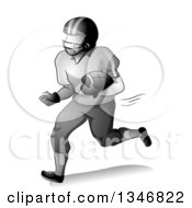 Clipart Of A Grayscale American Football Player Running With A Ball Tucked In His Arm Royalty Free Vector Illustration