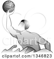Clipart Of A Grayscale Water Polo Player Man Catching A Ball Royalty Free Vector Illustration by BNP Design Studio