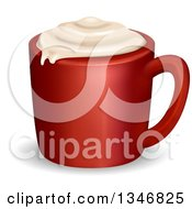 Clipart Of A Red Capuccino Mug With Foam Royalty Free Vector Illustration