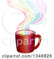 Clipart Of A Coffee Mug With Rainbow Steam Royalty Free Vector Illustration