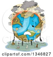 Clipart Of A Deforested Flooded And Polluted Earth Character Royalty Free Vector Illustration by BNP Design Studio