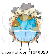 Clipart Of A Polluted Planet Earth Wearing A Mask Royalty Free Vector Illustration by BNP Design Studio