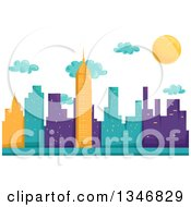 Clipart Of A Background Of Yellow Turquoise And Purple City Skycrapers Clouds And The Sun Royalty Free Vector Illustration