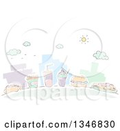 Clipart Of Sketched City Buildings And Fast Food Items Royalty Free Vector Illustration