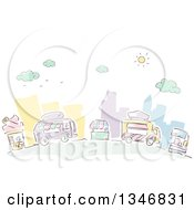 Clipart Of Sketched Food Trucks And Vendors In A City Street Royalty Free Vector Illustration