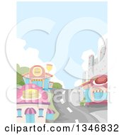 Clipart Of A Road Leading Through A City And Restaurant Buildings Royalty Free Vector Illustration