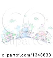 Clipart Of Sketched City Buildings And Restaurants Royalty Free Vector Illustration