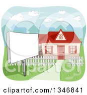Clipart Of A Blank Sign In The Yard Of A Home For Sale Royalty Free Vector Illustration