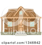 Clipart Of A Log Cabin House Facade Royalty Free Vector Illustration by BNP Design Studio