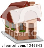 Clipart Of A House With A Sign Attached To The Front Royalty Free Vector Illustration