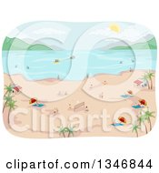 Clipart Of A Tropical Beach With People On The Shore And In The Water Royalty Free Vector Illustration
