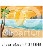 Clipart Of A Setting Sun With A City Skyline And Palm Trees On A Tropical Beach Royalty Free Vector Illustration