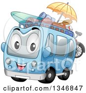 Cartoon Tour Bus Character With Beach Gear