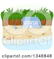 Clipart Of A Blue Beachfront Cabin With Palm Trees Royalty Free Vector Illustration