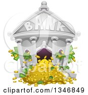 Clipart Of A Bank Building With Cash And Money Flowing Out Royalty Free Vector Illustration by BNP Design Studio