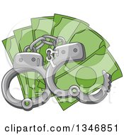 Clipart Of Handcuffs Over Cash Money Royalty Free Vector Illustration