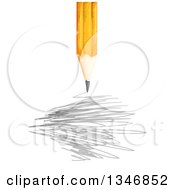 Clipart Of A Yellow Pencil Over Scribbles Royalty Free Vector Illustration
