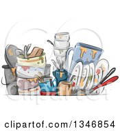 Clipart Of Sketched Dirty Dishes Royalty Free Vector Illustration