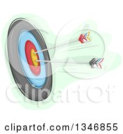 Clipart Of A Sketched Archery Target Board And Arrows Royalty Free Vector Illustration by BNP Design Studio