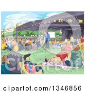 Clipart Of A Sketched Concert Crowd At A Park Royalty Free Vector Illustration by BNP Design Studio