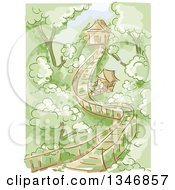Clipart Of A Sketched Wooden Bridge Leading To Tree Houses Royalty Free Vector Illustration
