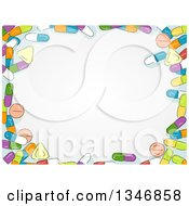 Clipart Of A Border Of Sketched Colorful Pills Around Text Space Royalty Free Vector Illustration